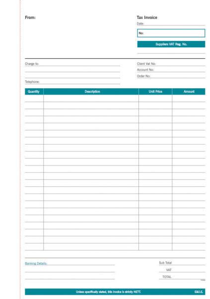 A4 Invoice Triplicate Pad Form