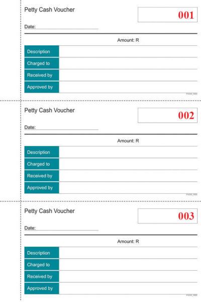 A5 Petty Cash Book Duplicate Form