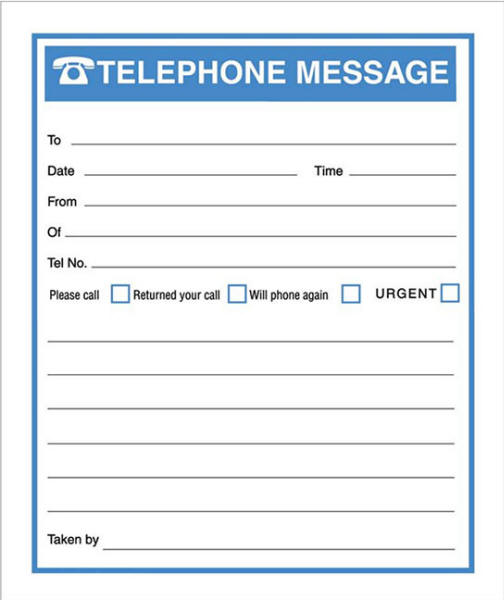 RBE Telephone Message Book Forms