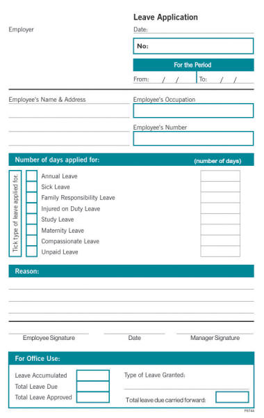 A5 Leave Application Duplicate Form Layout