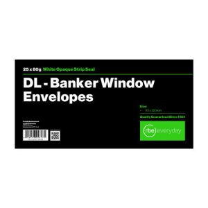 DL Banker White Windowed Envelope