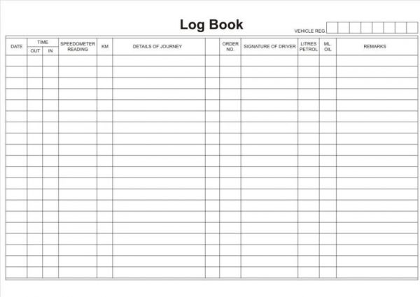 A5 Drivers Log Book Form