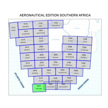 Cape Town Aviation Map 1:500 000 - RBE Stationery Manufacturers Cape Town Maps on