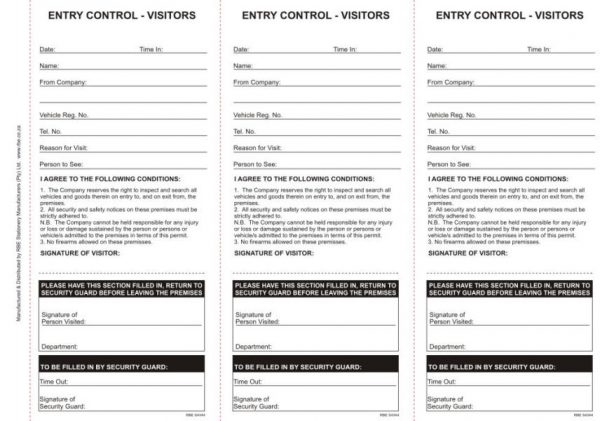 Security Entry Control Visitors Book