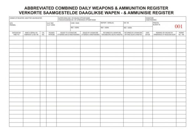 Daily Weapons & Ammunition Register