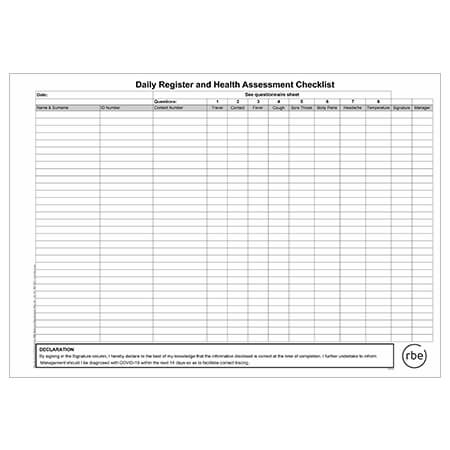 Daily Health Assessment Register
