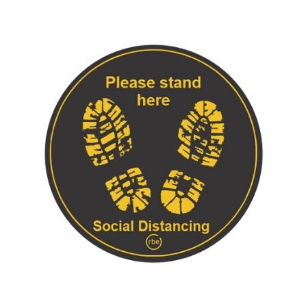 Black Social Distancing Floor Stickers
