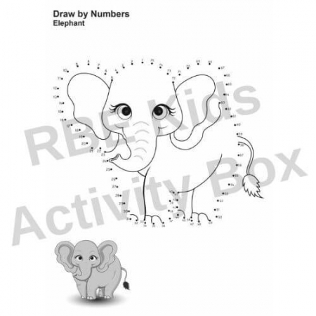 Kids Activity Pad - Draw by Numbers - Elephant