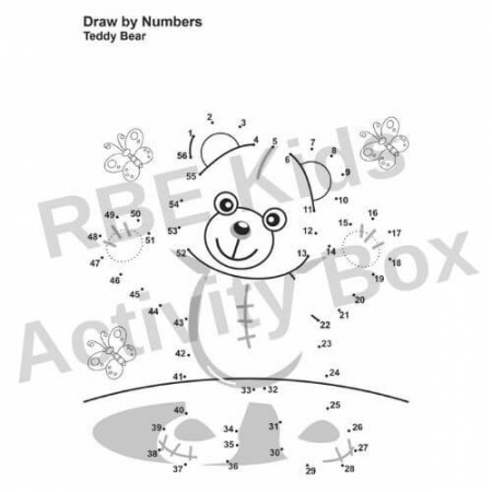 Kids Activity Pad - Draw by Numbers - Teddy Bear
