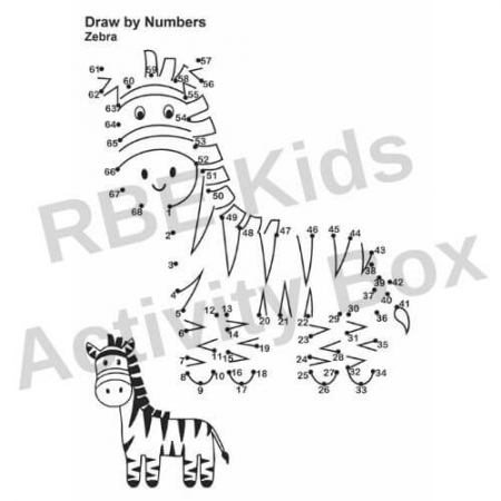 Kids Activity Pad - Draw by Numbers - Zebra