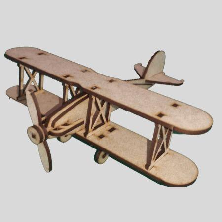 Laser Cut - 3D Aeroplane Model - Bi-Plane