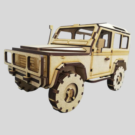 Laser Cut - 3D Land Rover Defender 90 Model