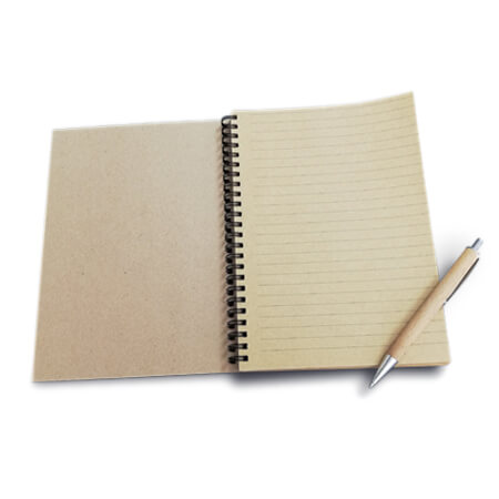 A5 Kraft Lined Spiral Bound Notebook - Inside
