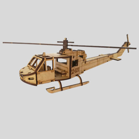 Bell UH1 Helicopter - 3D Laser Cut Model