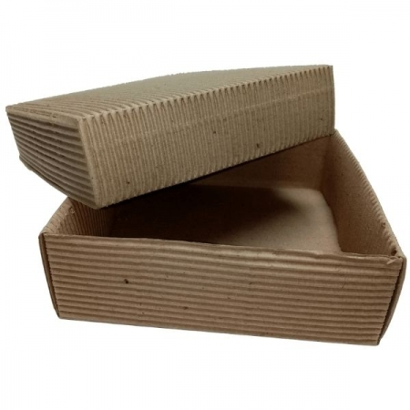 Fluted Kraft Square Loose Lid Shallow Gift Box